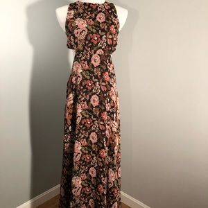 Zara open back long floral printed dress
